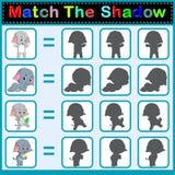 Encontre a sombra correta do elefante ilustração stock