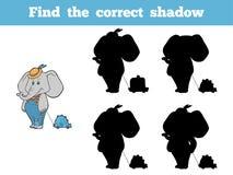 Encontre a sombra correta (elefante e o brinquedo) ilustração royalty free