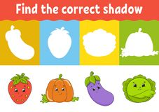 Encontre a sombra correta Folha tornando-se da educação Jogo de harmonização para crianças Página da atividade Enigma para crianç ilustração do vetor