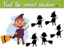 Encontre a sombra correta Jogo de harmonização educacional para crianças com bruxa dos desenhos animados em uma vassoura ilustração royalty free