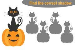 Encontre a sombra correta, o jogo do Dia das Bruxas para crianças, o gato dos desenhos animados e a abóbora, jogo para crianças,  ilustração do vetor