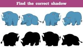 Encontre a sombra correta (o rinoceronte) ilustração do vetor