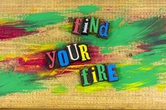 Encontre sua paixão do fogo imagens de stock