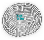 Encontre um trabalho - labirinto circular Imagens de Stock Royalty Free