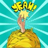 Encontre uma agulha em um monte de feno no pop art Uma mão alegre diz yeah e guarda um iglu em sua ilustração do vetor da mão den Fotografia de Stock