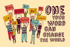 Encontro de votação dos povos do mundo da mudança da democracia ilustração do vetor
