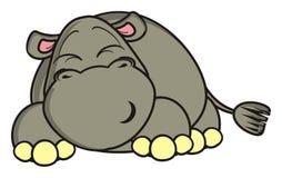 Encontro e sonhos engraçados do hipopótamo Fotos de Stock Royalty Free