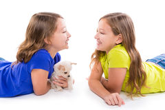 Encontro gêmeo feliz das meninas da criança da irmã e do cão de cachorrinho fotos de stock