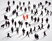 Encontro na multidão Fotografia de Stock