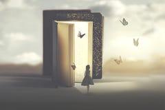 Encontro poético entre uma mulher e as borboletas que saem de um livro fotografia de stock