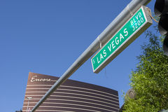The Encore hotel with a Las Vegas street sign. Stock Photos
