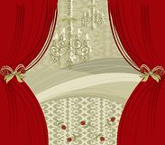 Encore red curtain. Illustrated background for all usage Stock Images