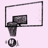 Encosto, cesta e bola de basquetebol no movimento Fotografia de Stock