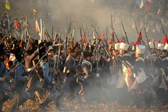 Encounter. History fans reacting the battle of 1805 Austerlitz Royalty Free Stock Images