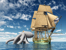 Encounter on the High Seas. Computer generated 3D illustration with a 18th Century Corvette and a Kraken Stock Photos