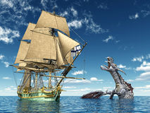 Encounter on the High Seas. Computer generated 3D illustration with a 18th Century Corvette and a Water Dragon Royalty Free Stock Image
