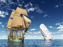 Encounter on the High Seas. Computer generated 3D illustration with a 18th Century Corvette and a White Whale Royalty Free Stock Images