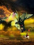 Close encounter. Encounter between a knight and a dragon into a fairy tale vector illustration