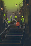 Encounter between red man and crowd of green men. Illustration painting Stock Images