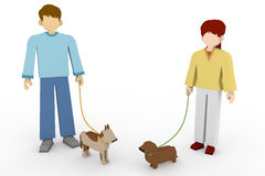 Encounter Walking. A walk in the park. Exercise in dogs. Meeting during a walk. To exercise their pets.Member of the family pet. Dog owner to greet each other Royalty Free Stock Photo