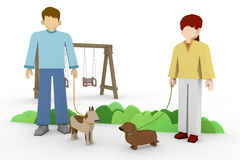 Encounter Walking. A walk in the park. Exercise in dogs. Meeting during a walk. To exercise their pets.Member of the family pet. Dog owner to greet each other Royalty Free Stock Photography
