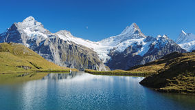 Encountering the Bachalpsee during the famous hiking trail from First to Grindelwald (Bernese Alps, Switzerland). Stock Images
