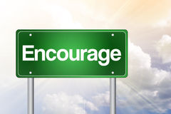 Encourage Green Road Sign Stock Images