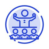 Encourage, Growth, Mentor, Mentorship, Team Blue Dotted Line Line Icon stock illustration