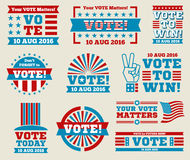 Encourage voting USA 2016 vector labels and banners. Encourage voting USA 2016 vector badges set. American vote labels for national voting day, vector Royalty Free Stock Images
