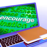 Encourage Word Cloud Laptop Shows Promote Boost Encouraged Stock Images