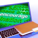 Encourage Word Cloud Laptop Shows Promote Boost Encouraged. Encourage Word Cloud Laptop Showing Promote Boost Encouraged Stock Images