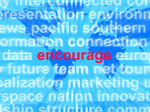Encourage Word Cloud Shows Promote Boost. Encourage Word Cloud Showing Promote Boost Encouraged Royalty Free Stock Images