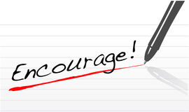 Encourage written on a notepad paper Stock Image