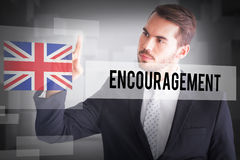 Encouragement against abstract white room Royalty Free Stock Images