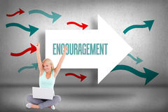 Encouragement against arrows pointing Stock Images