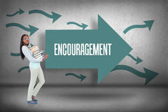 Encouragement against arrows pointing Stock Photography
