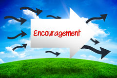 Encouragement against green hill under blue sky Royalty Free Stock Images