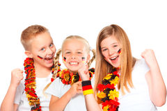 Encourager allemand de ventilateurs de football Images libres de droits