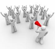 Encourager avec l'équipe - aboutissant avec le corne de brume illustration libre de droits