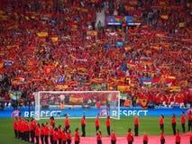 Encourager espagnol de fans Photos stock