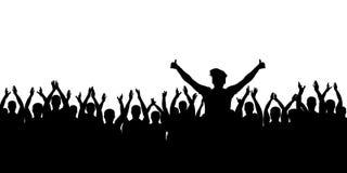 Encourager gai de foule Mains vers le haut Personnes d'applaudissements Vecteur de silhouette illustration stock