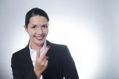 Encourager radieux de femme d'affaires image stock