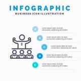 Encouragez, croissance, mentor, le Mentorship, icône de Team Line avec le fond d'infographics de présentation de 5 étapes illustration de vecteur
