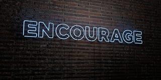 ENCOURAGEZ - enseigne au néon réaliste sur le fond de mur de briques - l'image courante gratuite de redevance rendue par 3D illustration libre de droits
