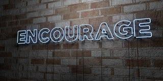 ENCOURAGEZ - Enseigne au néon rougeoyant sur le mur de maçonnerie - 3D a rendu l'illustration courante gratuite de redevance illustration de vecteur