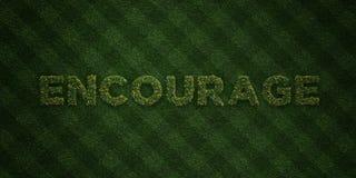 ENCOURAGEZ - lettres fraîches d'herbe avec des fleurs et des pissenlits - l'image courante gratuite de redevance rendue par 3D illustration stock