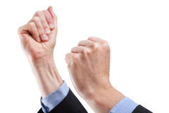 Encouraging gesture. Tight hands ready encouraging, body language Stock Photography