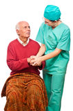 Nurse elderly person care isolated Stock Photos