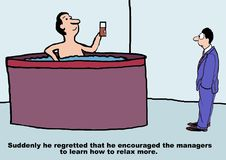 Encouraging the Managers to Relax stock illustration