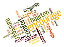 encouraging ord Fotografering för Bildbyråer